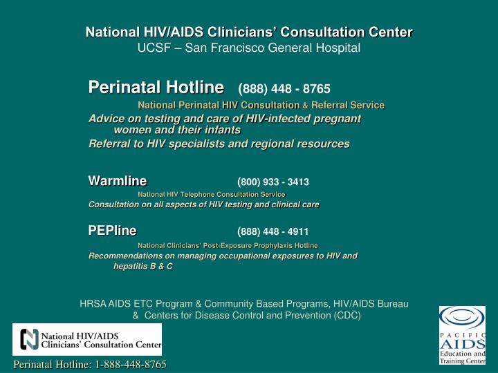 National hiv aids clinicians consultation center ucsf san francisco general hospital
