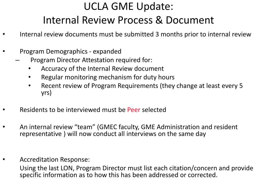 UCLA GME Update: