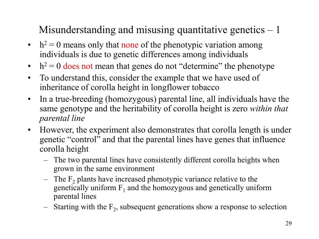 Misunderstanding and misusing quantitative genetics – 1