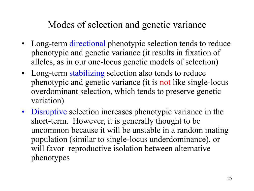 Modes of selection and genetic variance