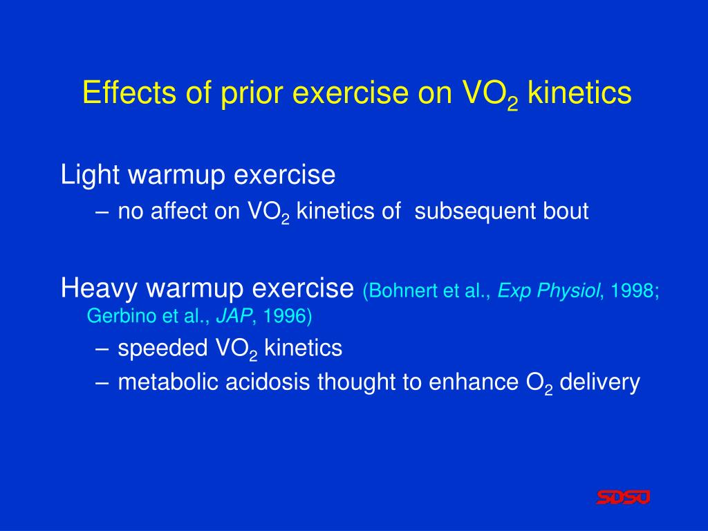 Effects of prior exercise on VO