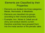 elements are classified by their properties
