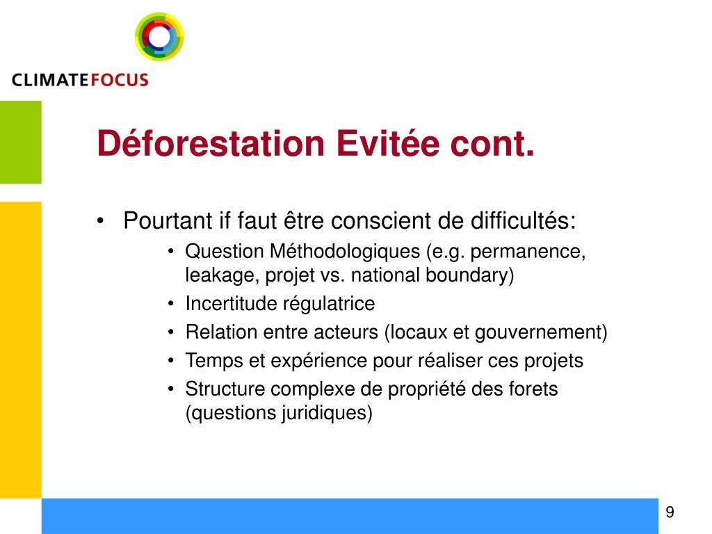 Déforestation Evitée cont.