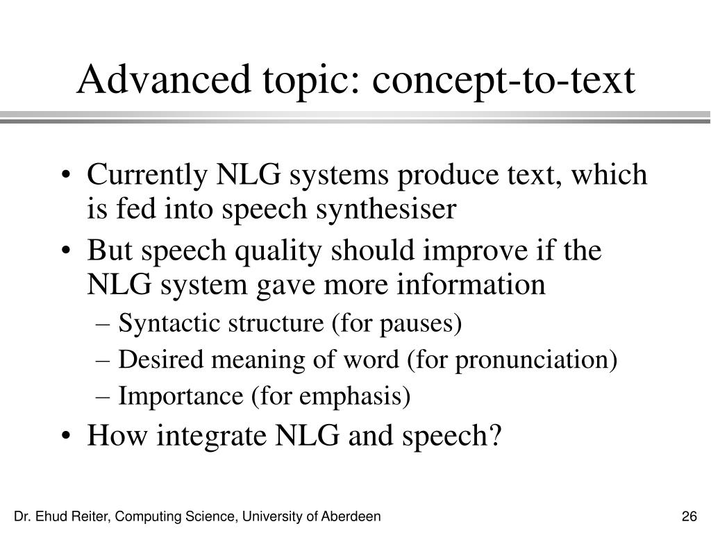 Advanced topic: concept-to-text