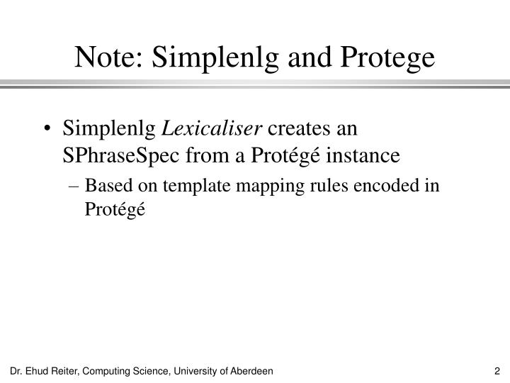 Note simplenlg and protege