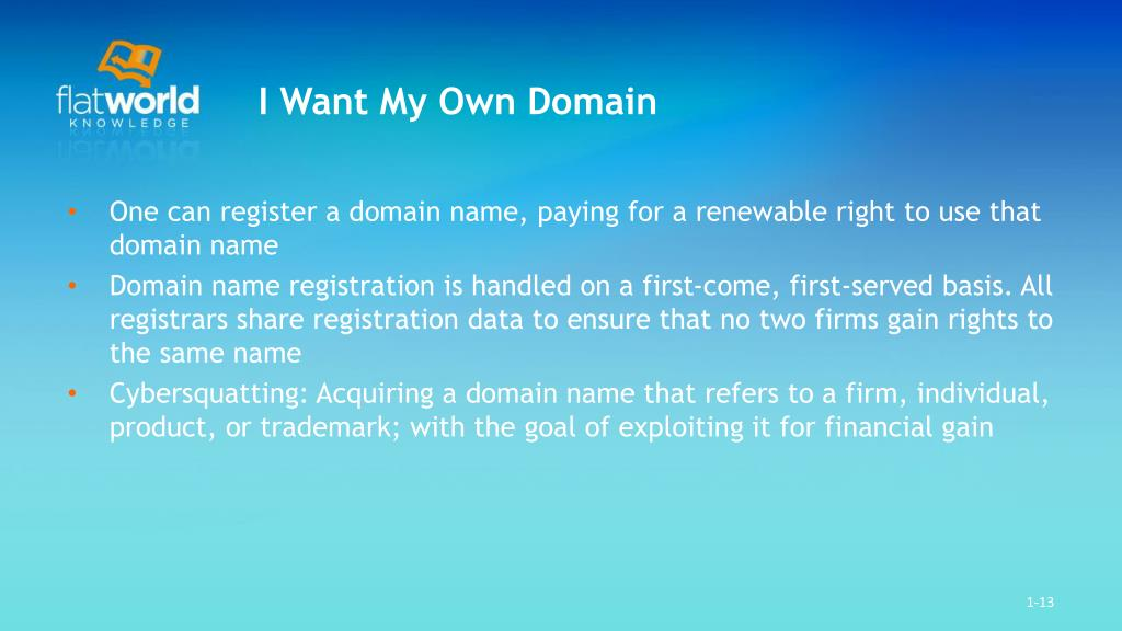 I Want My Own Domain