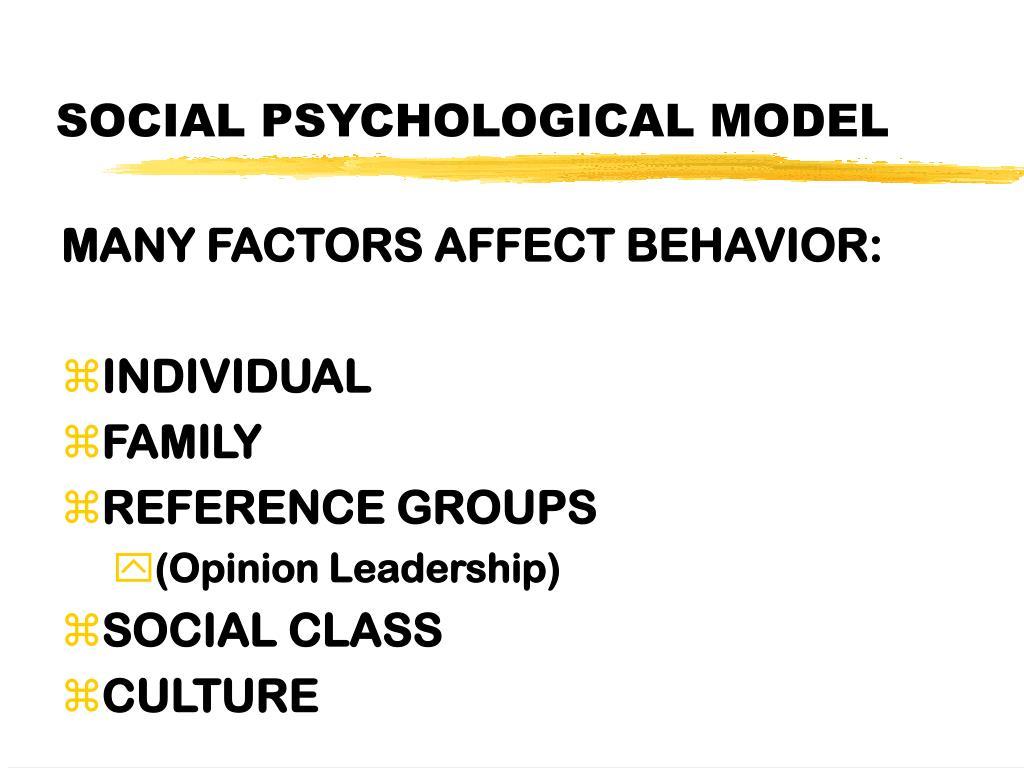 SOCIAL PSYCHOLOGICAL MODEL