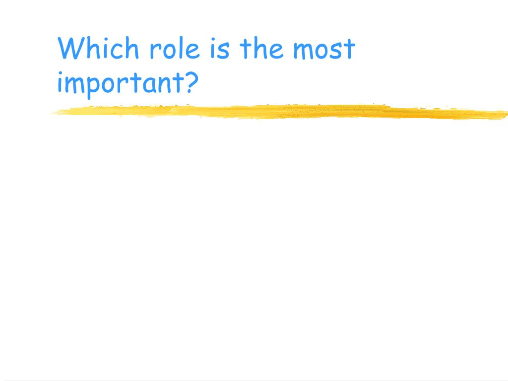 Which role is the most important?
