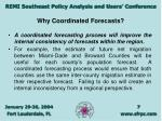 why coordinated forecasts