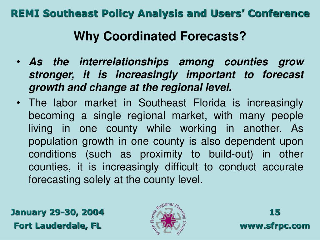 Why Coordinated Forecasts?