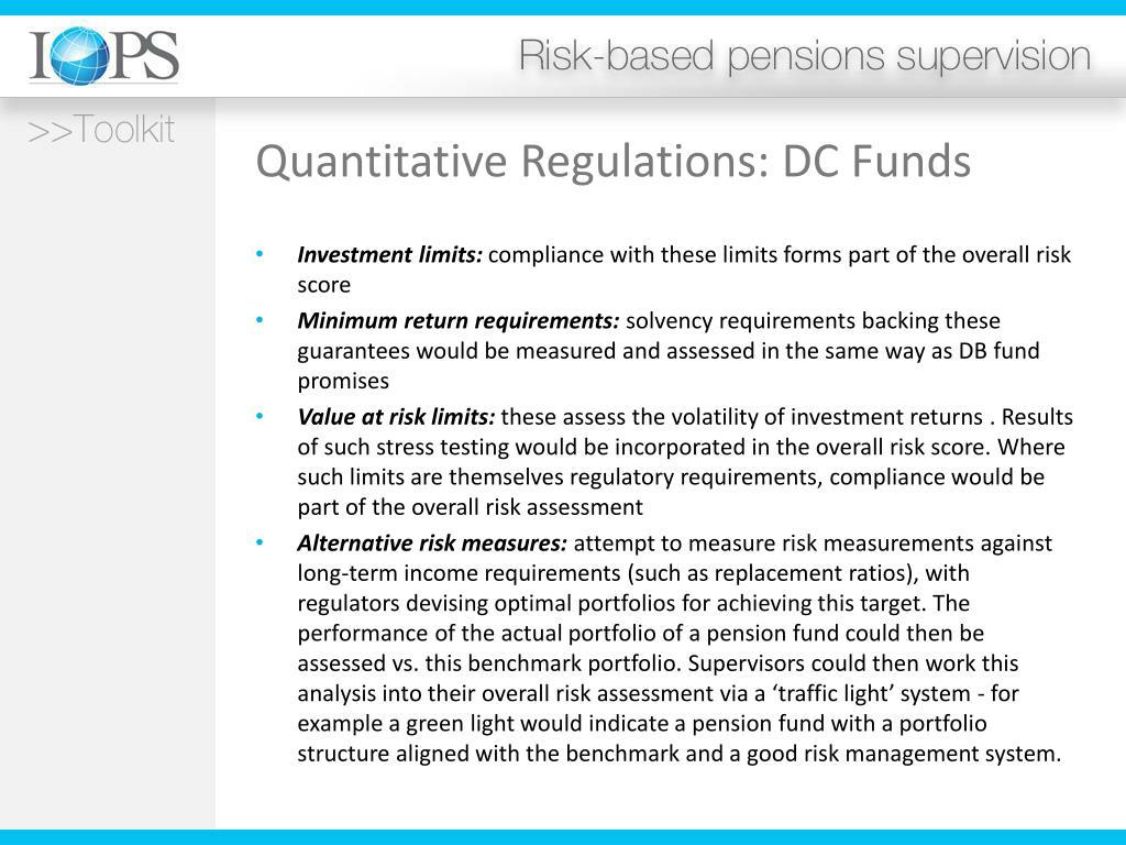 Quantitative Regulations: DC Funds