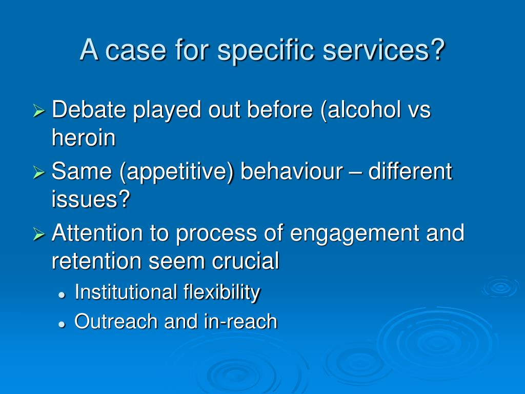A case for specific services?