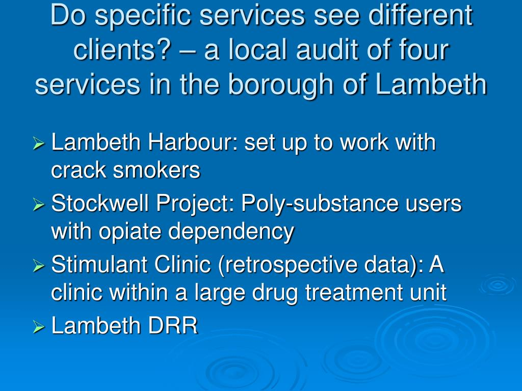 Do specific services see different clients? – a local audit of four services in the borough of Lambeth