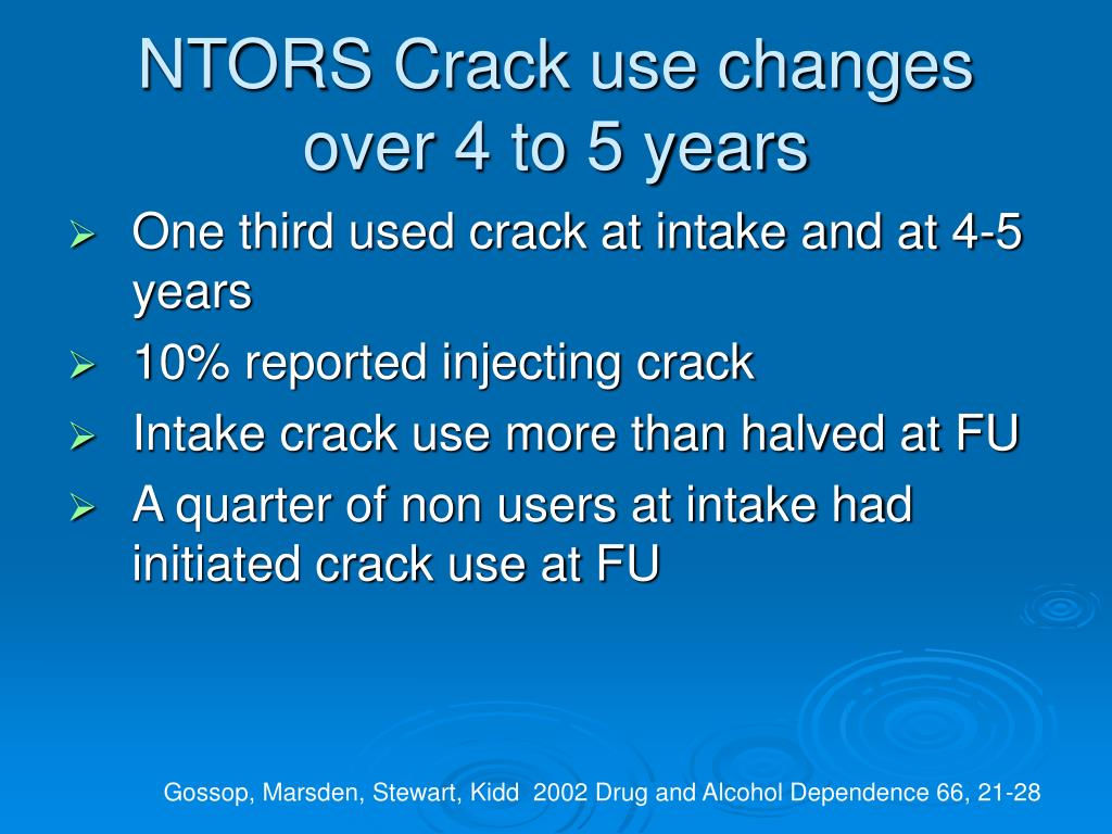 NTORS Crack use changes over 4 to 5 years