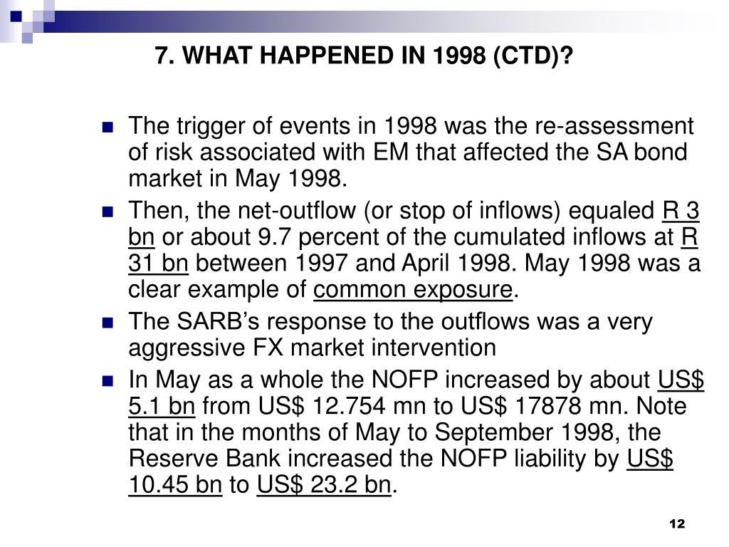 7. WHAT HAPPENED IN 1998 (CTD)?