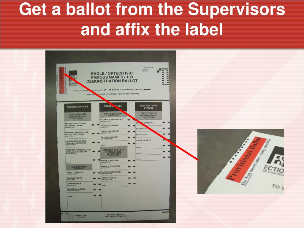 Get a ballot from the Supervisors and affix the label