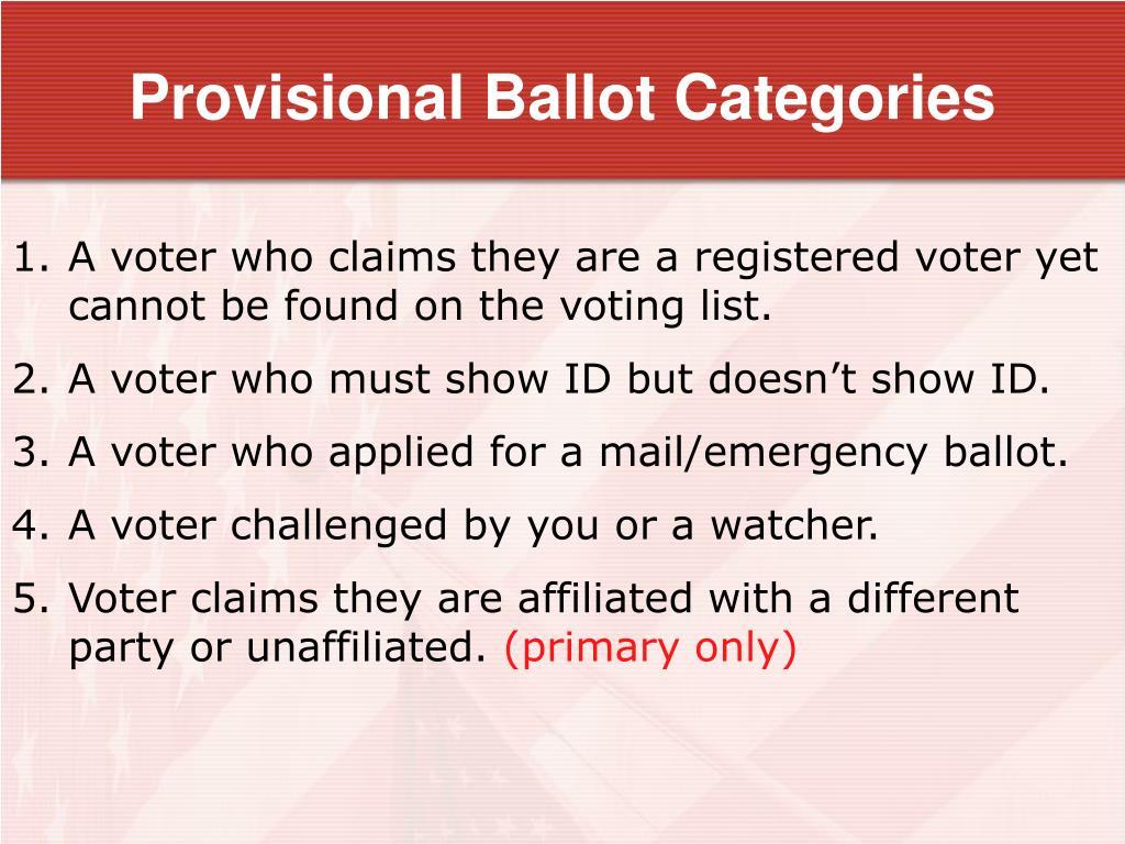 Provisional Ballot Categories