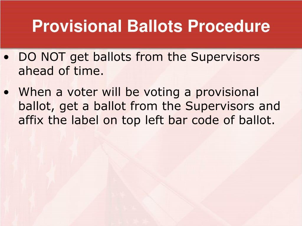 Provisional Ballots Procedure