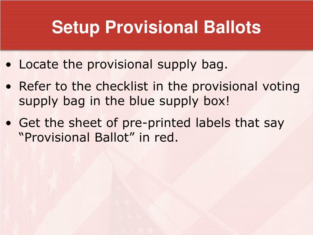 Setup Provisional Ballots