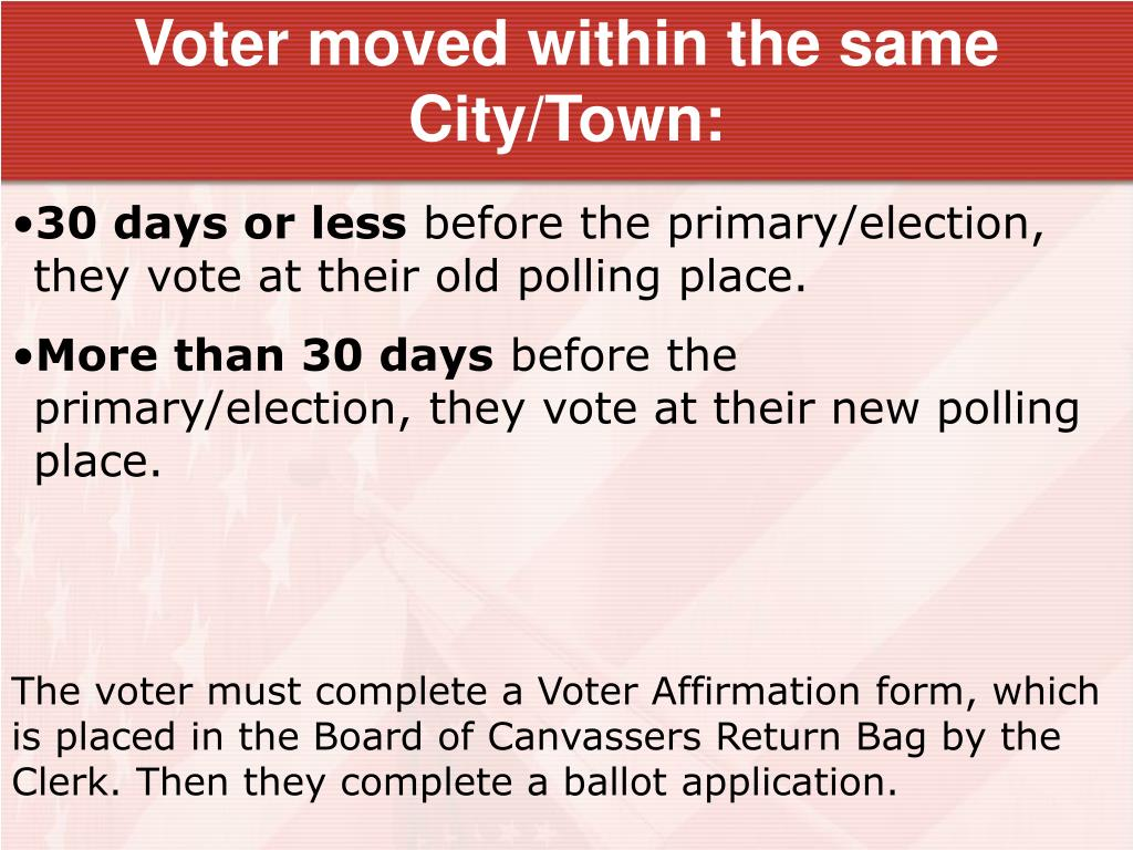 Voter moved within the same City/Town: