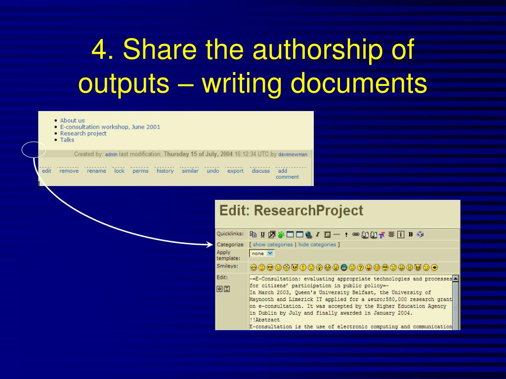 4. Share the authorship of outputs – writing documents
