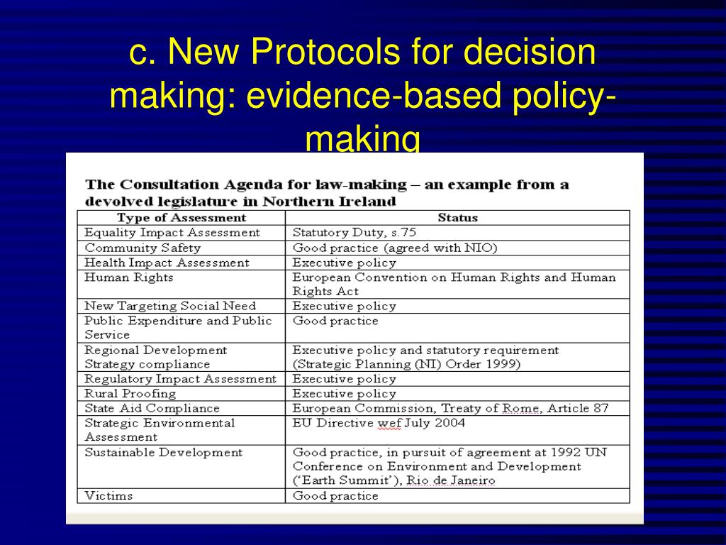 c. New Protocols for decision making: evidence-based policy-making