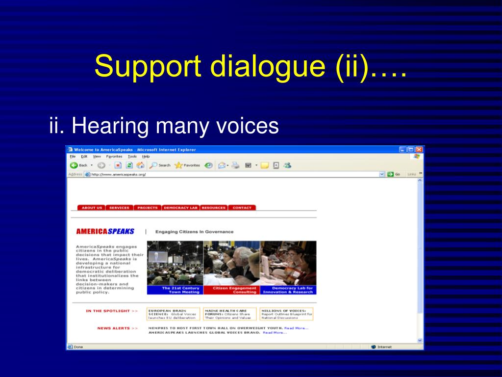 Support dialogue (ii)….