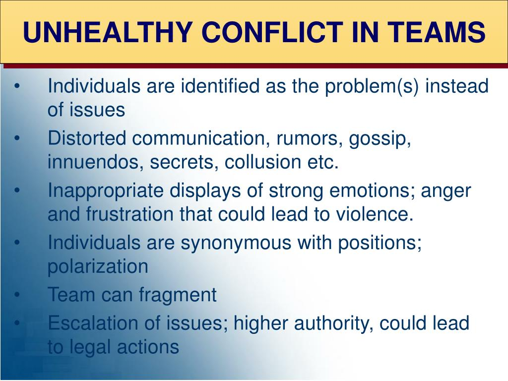 UNHEALTHY CONFLICT IN TEAMS
