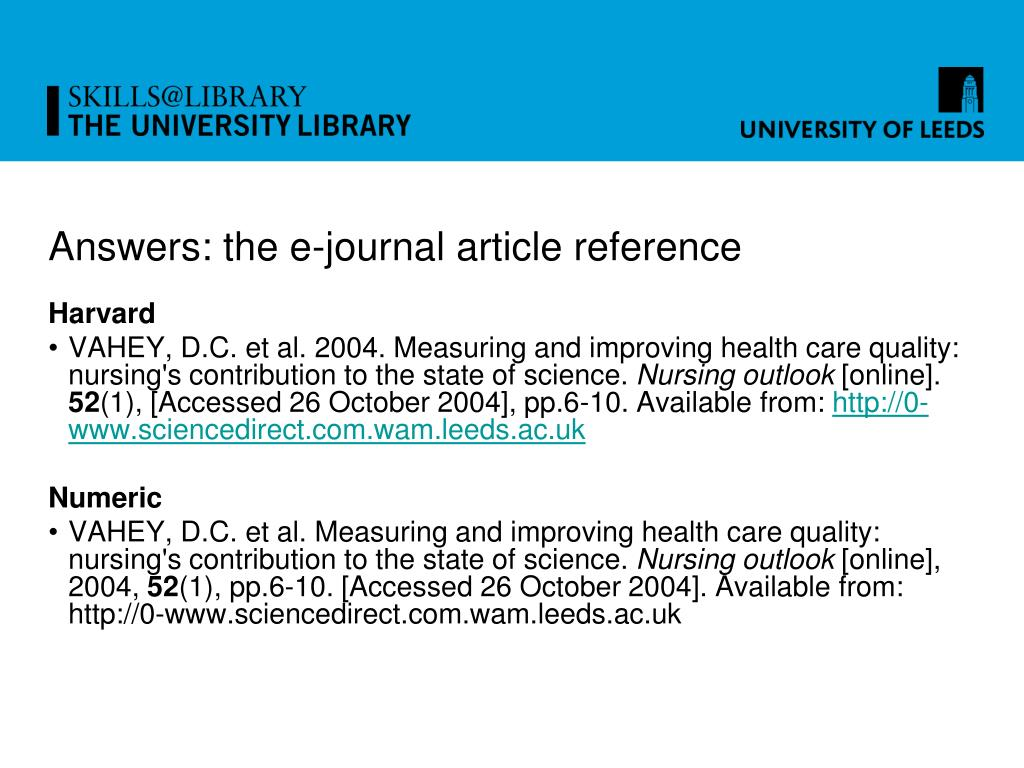 Answers: the e-journal article reference