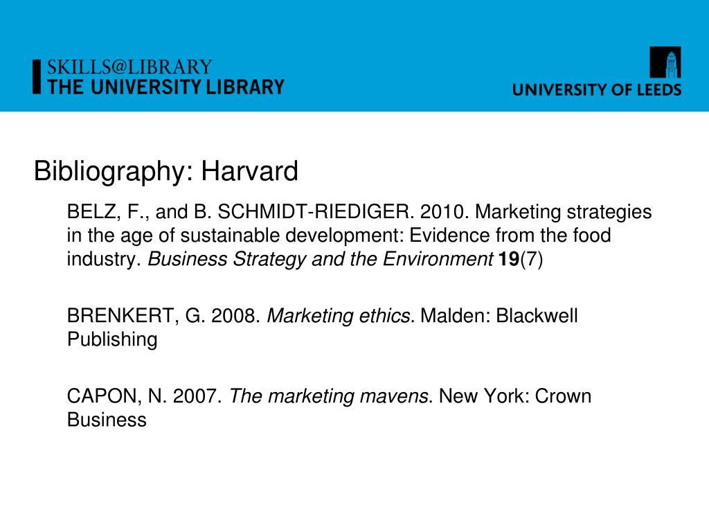 Bibliography: Harvard