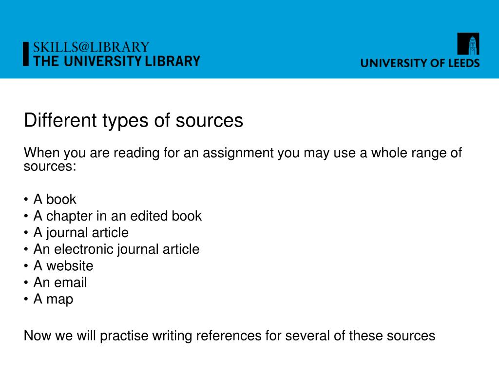 Different types of sources