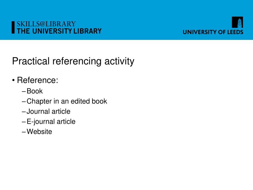 Practical referencing activity
