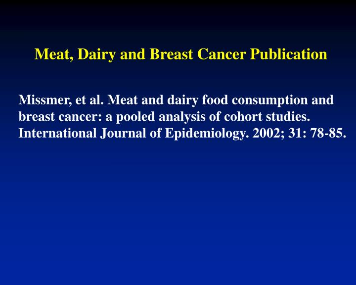 Meat dairy and breast cancer publication