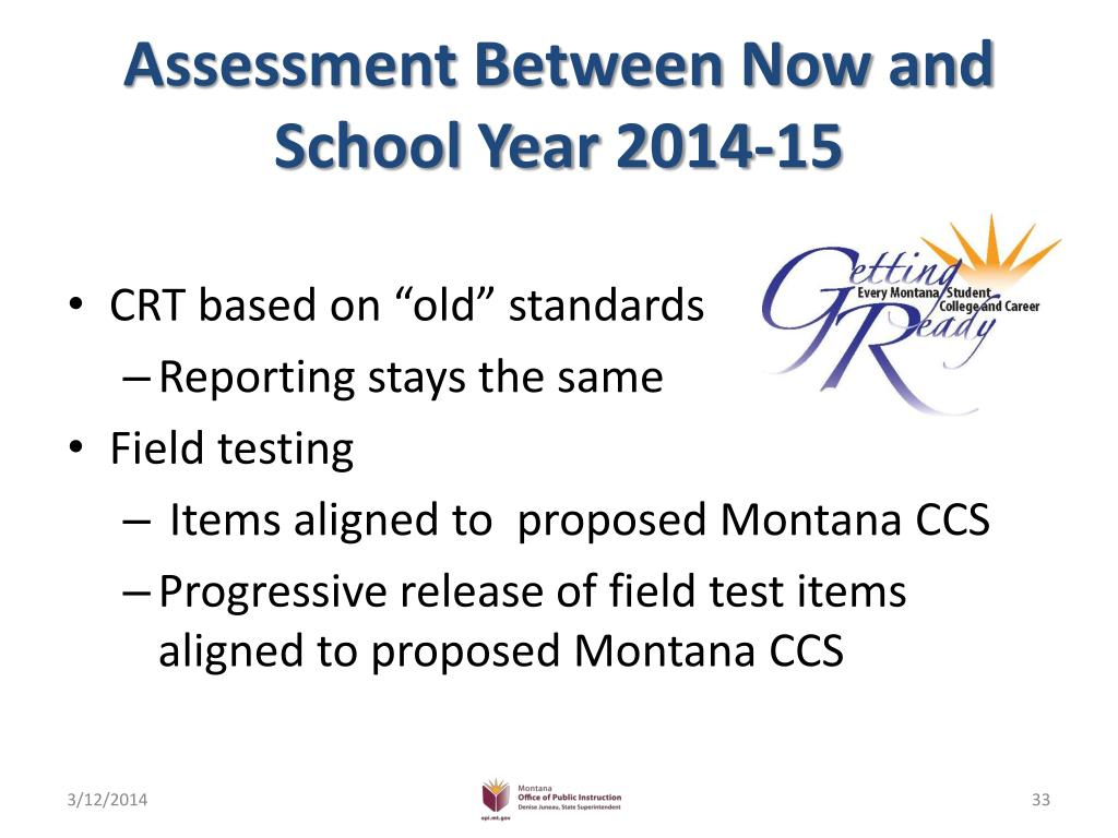 Assessment Between Now and School Year 2014-15