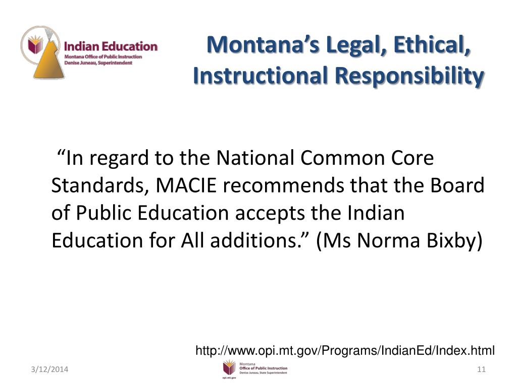 Montana's Legal, Ethical, Instructional Responsibility