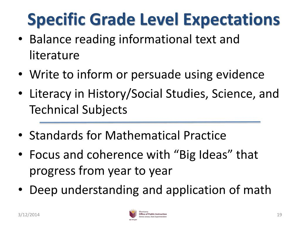 Specific Grade Level Expectations