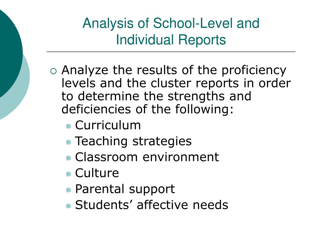 Analysis of School-Level and