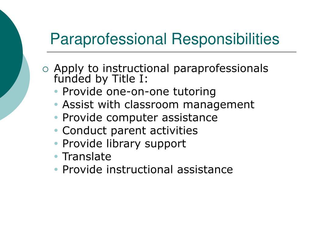 Paraprofessional Responsibilities