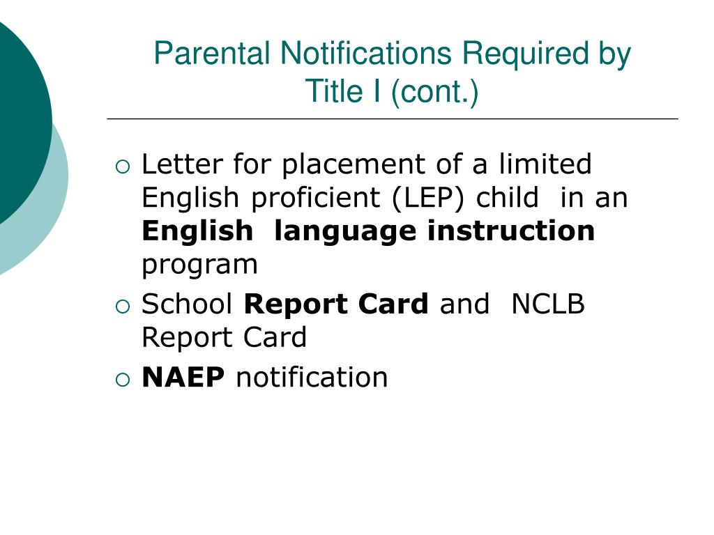 Parental Notifications Required by