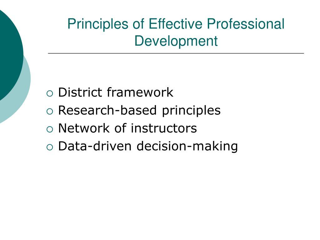 Principles of Effective Professional Development