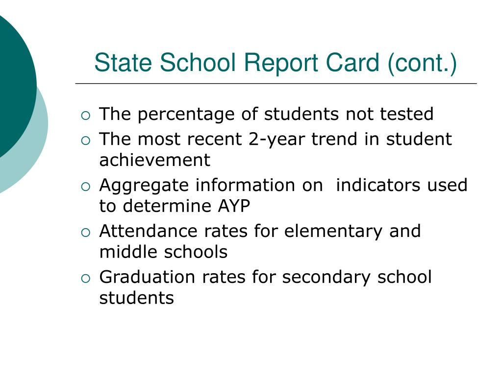 State School Report Card (cont.)