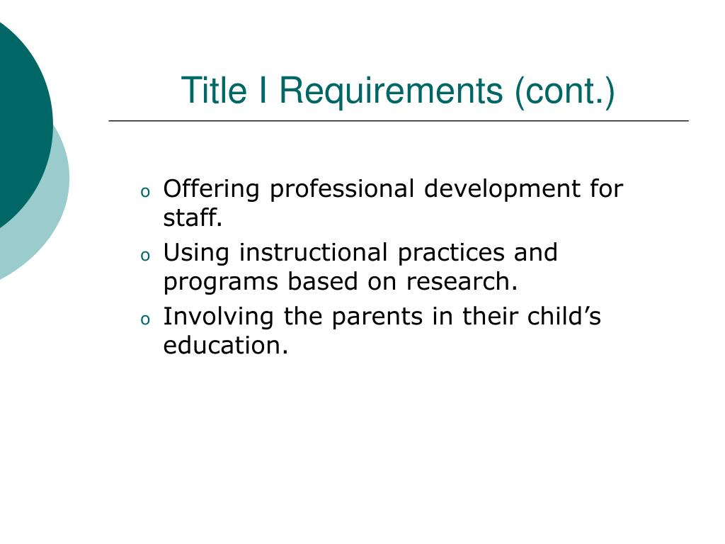 Title I Requirements (cont.)