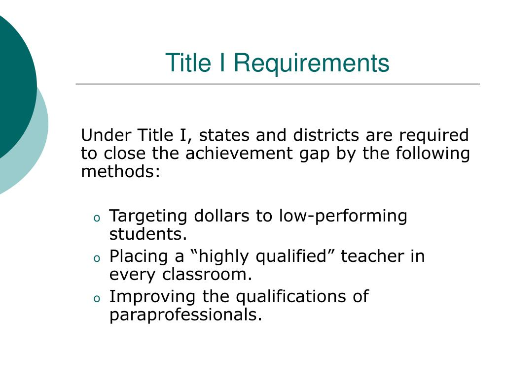 Title I Requirements