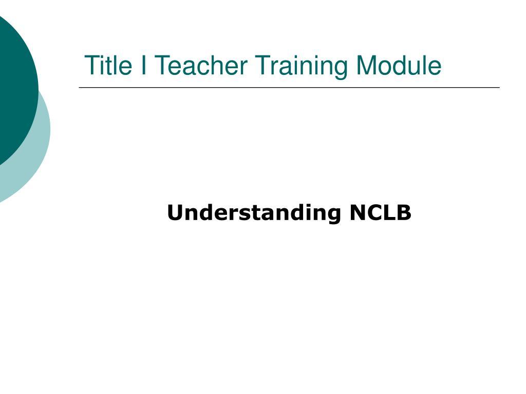 Title I Teacher Training Module