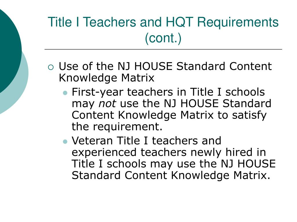 Title I Teachers and HQT Requirements (cont.)