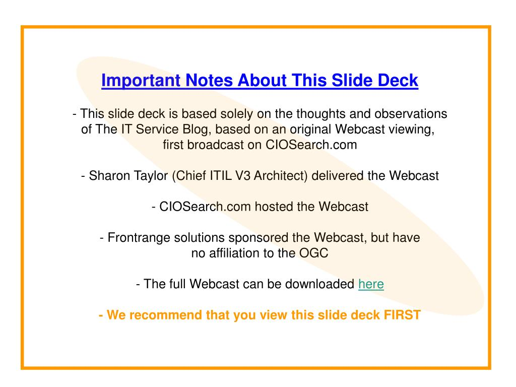 Important Notes About This Slide Deck
