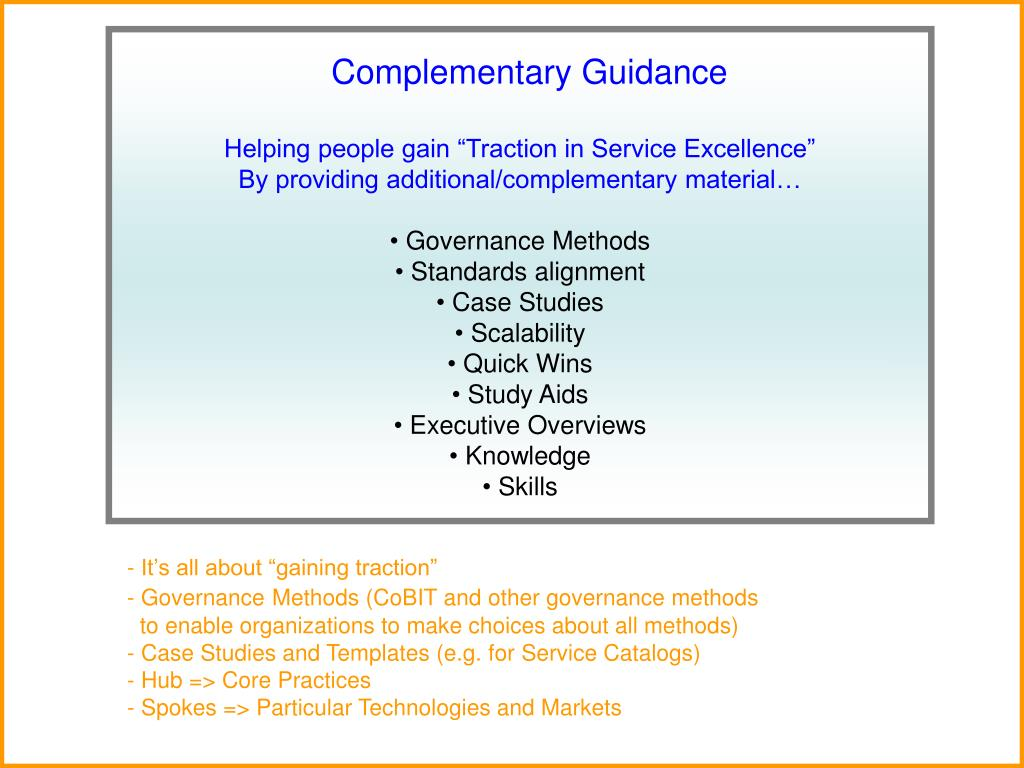 Complementary Guidance