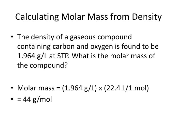 Calculating Molar Mass from Density