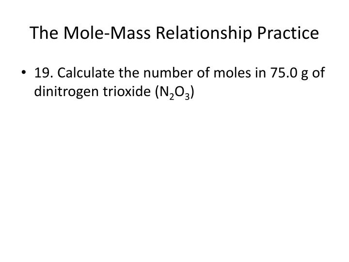 The Mole-Mass Relationship Practice