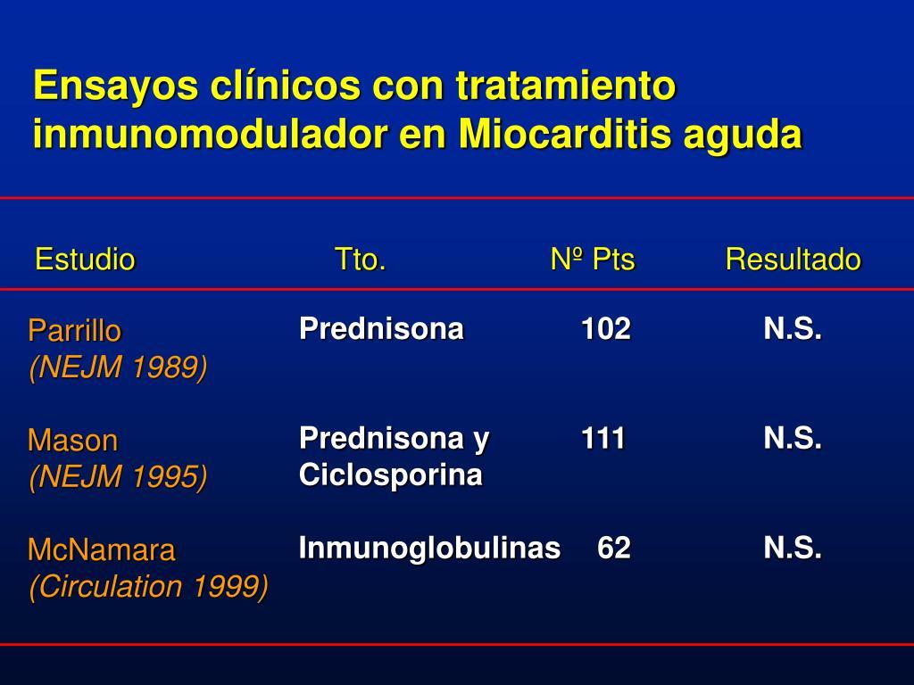 Ensayos clínicos con tratamiento inmunomodulador en Miocarditis aguda